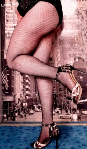 Glänzende Strumpfhose, High Heels